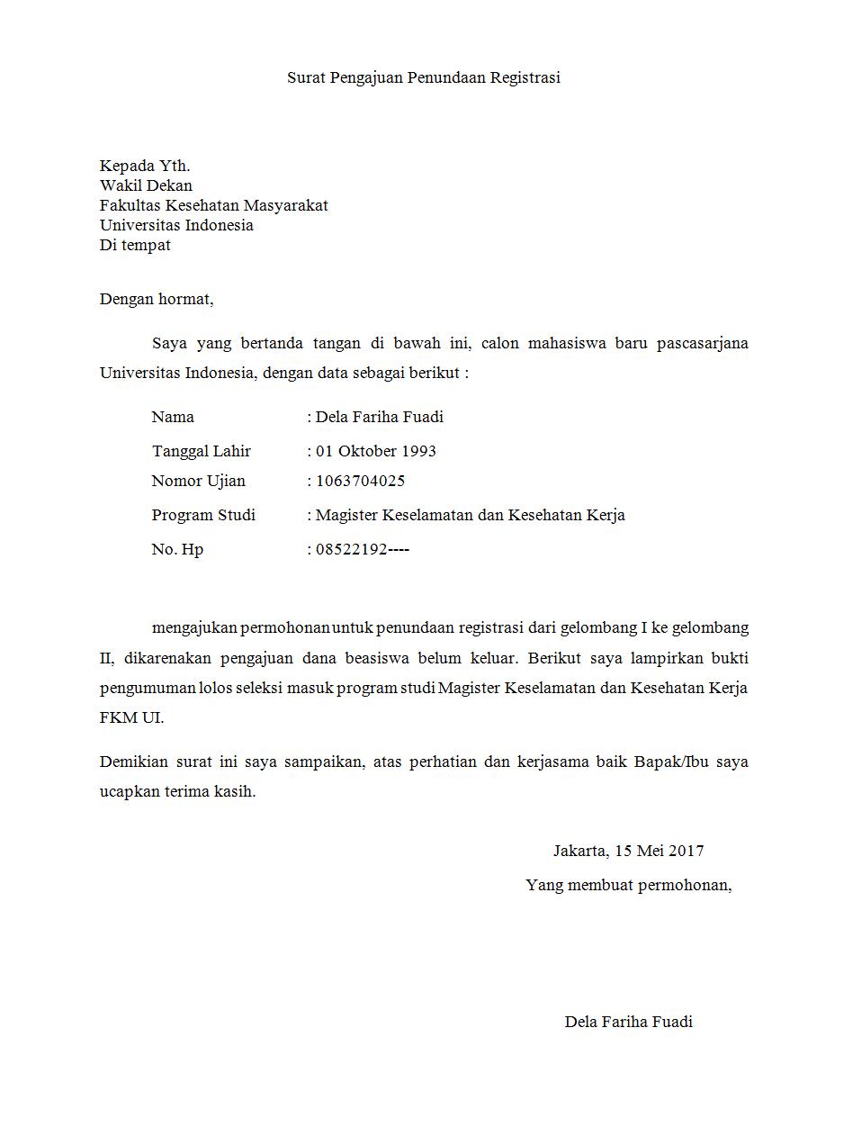 Surat Pengajuan Defer Atau Tunda Kuliah Di Universitas